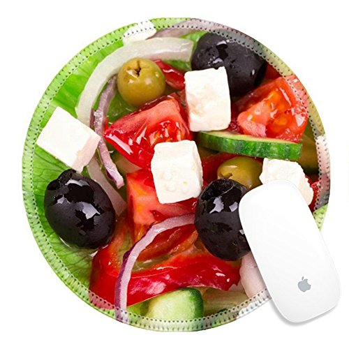 Luxlady Round Gaming Mousepad 38071729 Greek salad Isolated on a white background