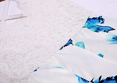 Women White V-Neck Floral Print Strap Short Jumpsuit Summer Lace Splice Backless Romper