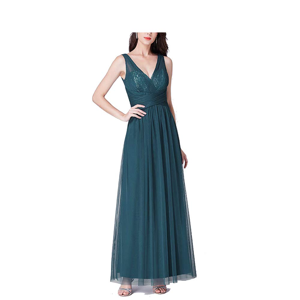 EP07458TE CAFSKYE New Bridesmaids Dresses A Line V Neck Long Tulle Pleated Wedding Party Gowns Robe