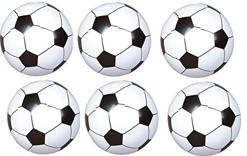 (24) Soccer Ball Inflates - Approx 8'' - Sports Birthday Parties - Inflatable Favors Decor Prize giveaway BEACHEBALLS Pool Play Toy outdoor - Team Coach League]()
