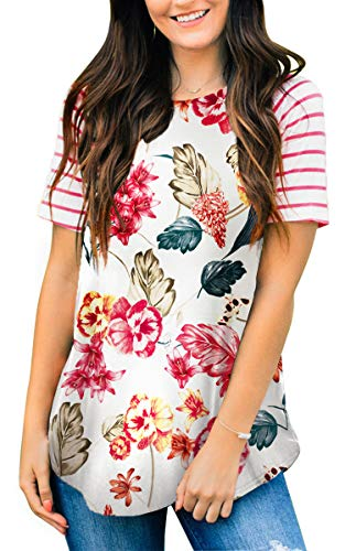Floral Tops for Women Print Summer Clothing Short Sleeve Tshirts Reglan Blouses White Floral M