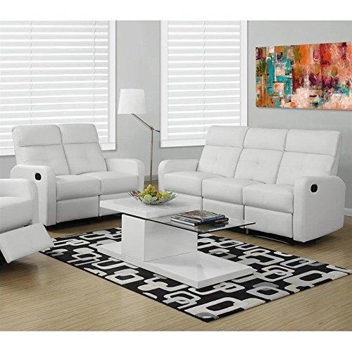Monarch 2 Piece Button Tuft Reclining Glider Leather Sofa Set in White
