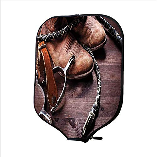Authentic Outrigger Canoe Paddle - iPrint Neoprene Pickleball Paddle Racket Cover Case,Western Decor,Authentic Old Leather Boots and Spurs Rustic Rodeo Equipment USA Style Art Picture,Brown,Fit for Most Rackets - Protect Your Paddle