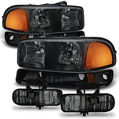 1999-2002 GMC Sierra 1500 2500 HD | 00-06 Yukon XL Black Headlights+ Bumper Light+ Smoked Fog Lights