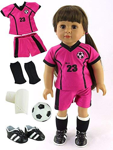 Pink & Black Soccer Player Outfit with Uniform, Shin Guards, Socks, Soccer Ball, and Shoes | Fits 18