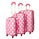 Rockland Designer 3-Piece Lightweight Hardside Spinner Luggage Set – Pink Dot, Bags Central
