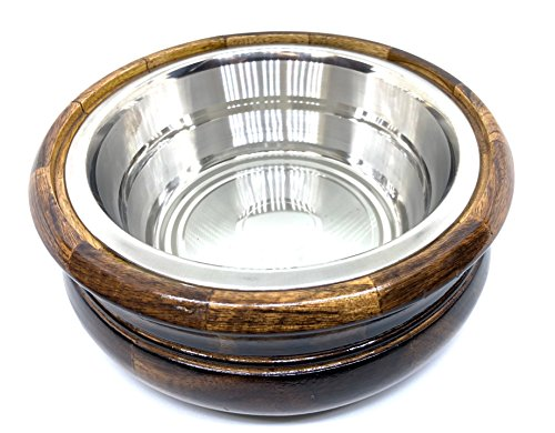 Handcrafted Wooden 8'' Chapati Box Casserole Food Container with Stainless Steel Pot with Lid by Generic (Image #2)
