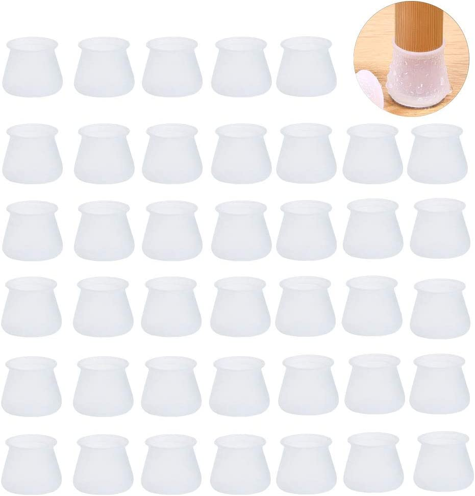 Nsiwem Stuhlbeinkappen Silikon 40 St/ück Stuhlbeinschutz F/ü/ße Pads Stuhlkappen Stuhlbein Socken Tische und st/ühle fu/ß Protektoren Gummi-Schutzkappen Fusskappen f/ür Stuhlbeine Wei/ß Grau