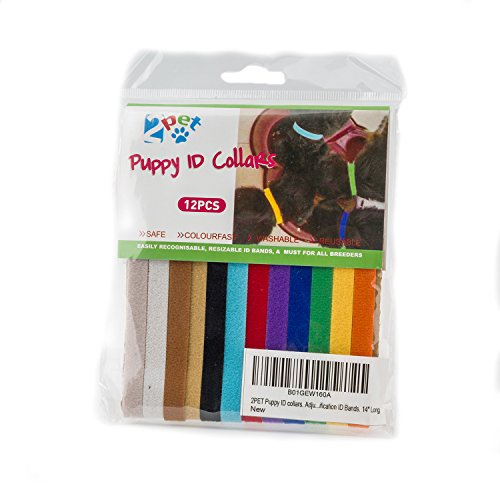 2PET Puppy ID Collars - Adjustable & Reusable Bands -Perfect for Identification Twelve Colors ID Bands. All Breeds 14