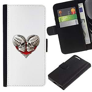 All Phone Most Case / Oferta Especial Cáscara Funda de cuero Monedero Cubierta de proteccion Caso / Wallet Case for Apple Iphone 6 PLUS 5.5 // Heart Skull Blood Love Bones White