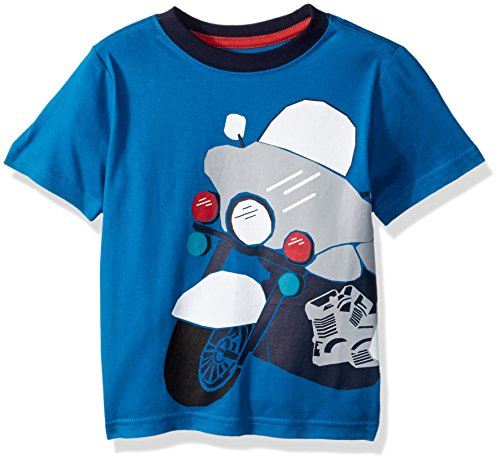 Gymboree Boys' Toddler Short Sleeve Crewneck Graphic TEE, Blue Motorcycle, 5T
