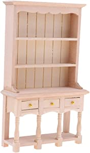 Prettyia 1/12 Dollhouse Miniature Furniture Multifunction DIY Unpainted Wooden Cabinet Bookcase