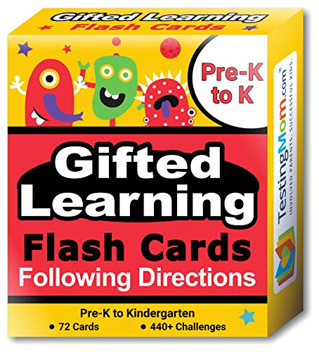 TestingMom.com Gifted Learning Flash Cards - Following Directions for Pre-K - Kindergarten - Educational Practice for CogAT Test, OLSAT Test, ITBS, NYC Gifted and Talented, WISC, WPPSI