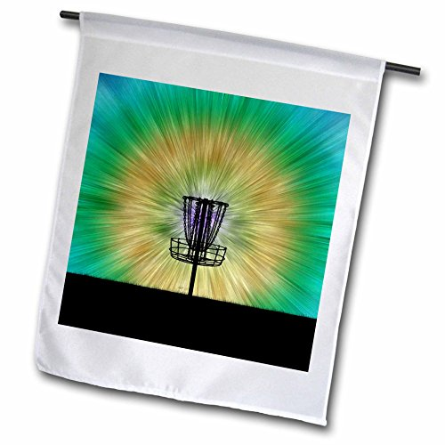 3dRose fl_173456_1 Tie Dye Disc Golf Basket-Colorful Disc Golf Tie Dye Basket Design Garden Flag, 12 by 18-Inch