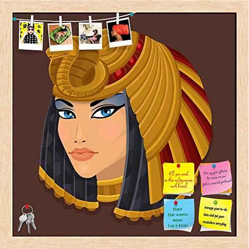 Artzfolio Icon Portrait Cleopatra Printed Bulletin Board Notice Pin Board | Natural Brown Frame 20 X 20Inch