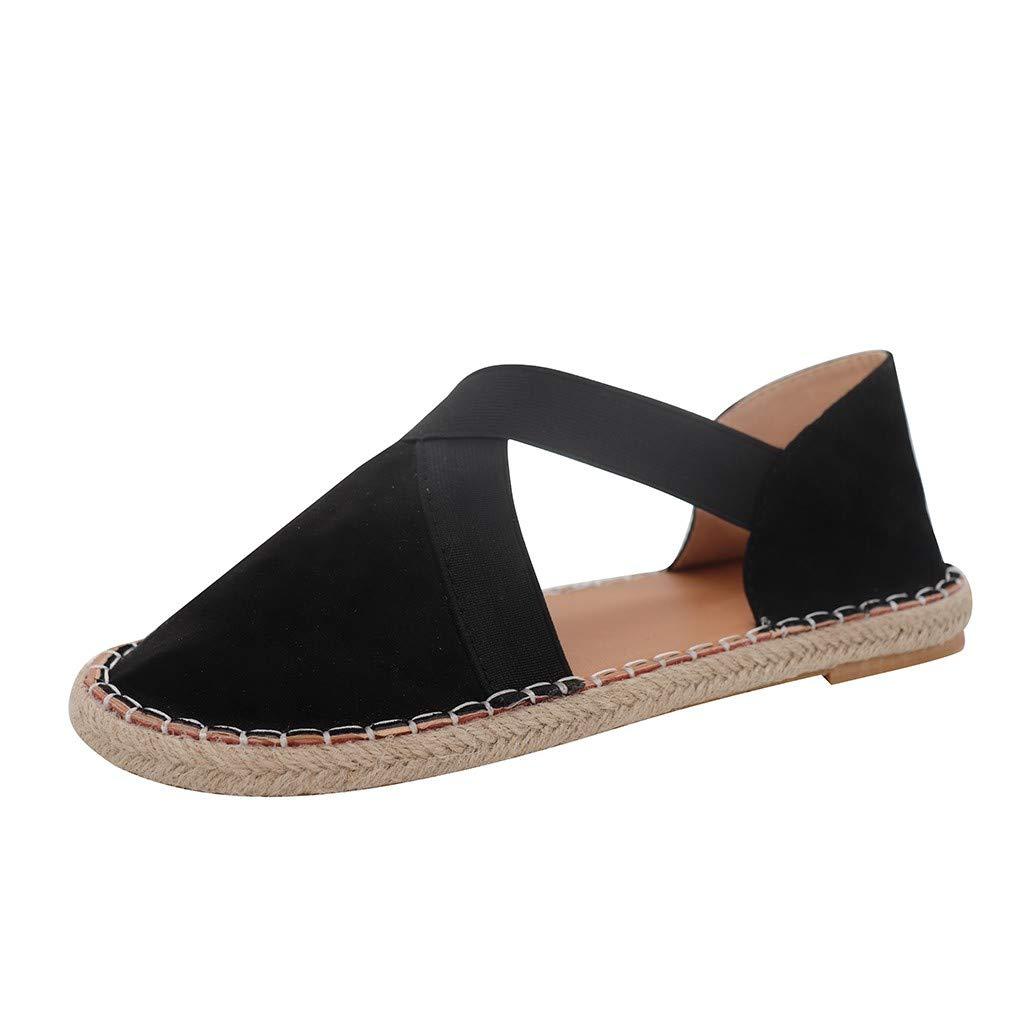 SSYongxia❤ Women's Classic Retro Ballet Flat Shoes -lastic Crossing Straps Flats Shoe Casual Fashion Shoes Black