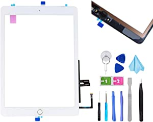 "T Phael White Digitizer Repair Kit for iPad 9.7"" 2018 iPad 6 6th Gen A1893 A1954 Touch Screen Digitizer Replacement with Home Button + Adhesive + Tools"