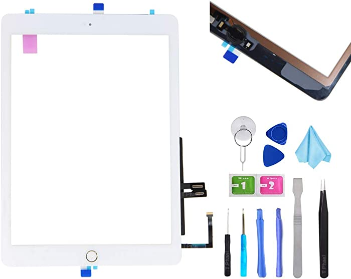 """T Phael White Digitizer Repair Kit for iPad 9.7"""" 2018 iPad 6 6th Gen A1893 A1954 Touch Screen Digitizer Replacement with Home Button + Adhesive + Tools"""