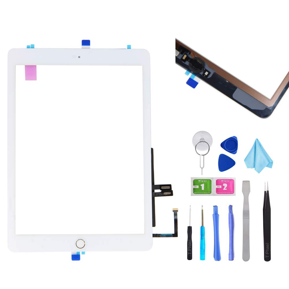 T Phael White Digitizer Repair Kit for iPad 9.7'' 2018 iPad 6 6th Gen A1893 A1954 Touch Screen Digitizer Replacement with Home Button + Adhesive + Tools