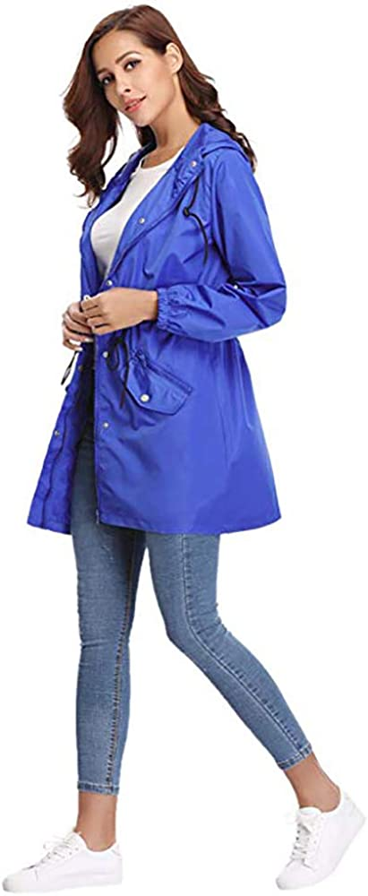 Damen Regenjacke Leichte Outdoor Jacke Wasserdicht Übergangsjacke mit Kapuze und Atmungsaktiv Futter Sportjacke für Frühling Sommer und Herbst Blue