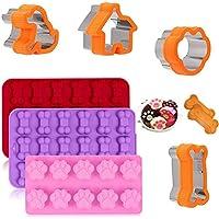 Paquete de 3 moldes de silicona para cachorros y huesos de perro, paquete de 4 módulos de corte de galletas de acero…