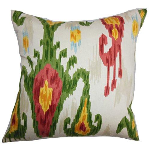 The Pillow Collection Talisha Ikat Bedding Sham Green Pink, European/26 x - Ikat Sham Euro