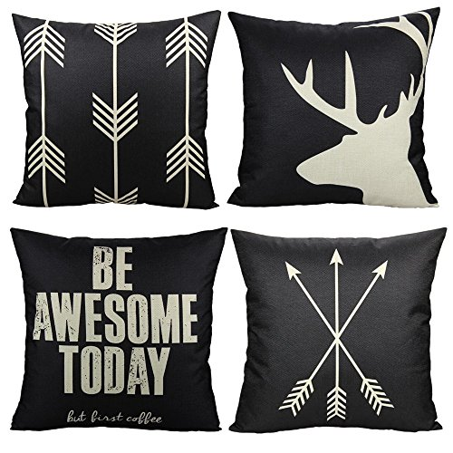 VAKADO Black Outdoor Deer Antler Throw Pillow Covers Cases Arrow Elk Decorative Rustic Farmhouse Cushion Inspirational Quote Words Decor for Couch Sofa 18x18 Set of 4