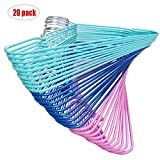 ASSICA Adult Non-slip Clothes Hangers Stainless Steel Metal Wire Hangers With Plastic Coating for Suits Closet 20 Pack for Dry Pants/Coats Random Color 16Inches Wide