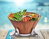 Arthur Court Designs Acacia Wood Salad Bowl with Aluminum Crab stand 12'' Diameter