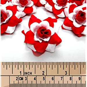 """(100) Silk White Red Roses Flower Head - 1.75"""" - Artificial Flowers Heads Fabric Floral Supplies Wholesale Lot for Wedding Flowers Accessories Make Bridal Hair Clips Headbands Dress 4"""