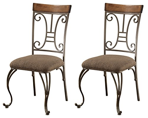 Ashley Furniture Signature Design – Plentywood Dining Room Chair – Set of 4 – Metal and Wood