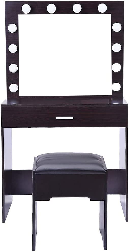 Pentaero 80 X40 X 140Cm Board Dresser, Vanity Set with Lighted Mirror Cushioned Stool Dressing Table Makeup Table, Dressing Table with 12 Led Lights, Dresser Bedroom Small Makeup Table (Black Walnut)