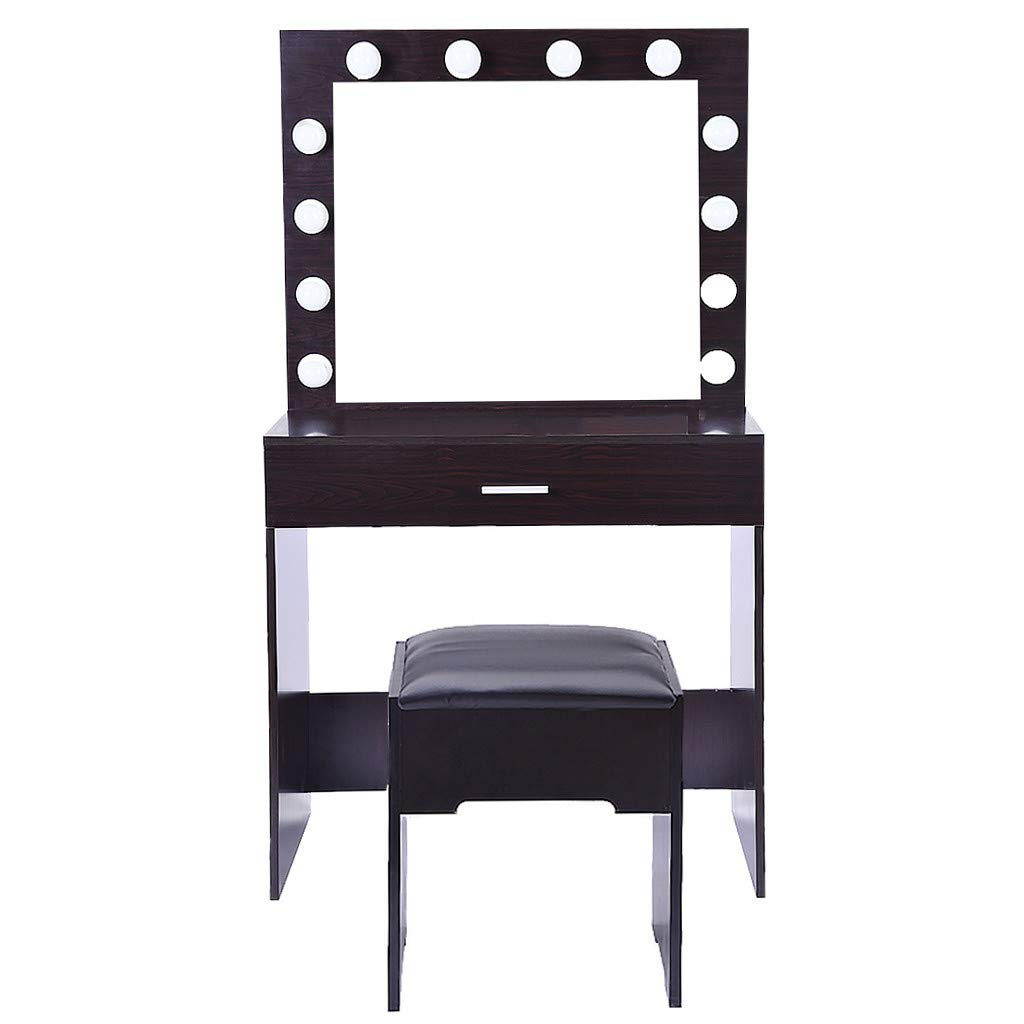 Vanity Set with Mirror & Cushioned Stool Dressing Table - Vanity Makeup Table Drawers Movable Organizers - Makeup Dressing Table and Stool Set with Large Drawer, Dresser Table Set for Women (Black) by QIANSKY