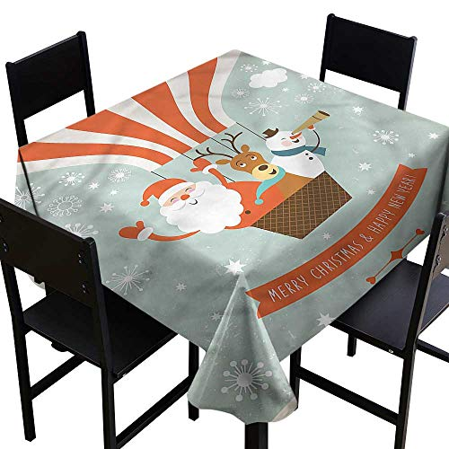 home1love Santa Waterproof Table Cover Hot Air Balloon Retro Stain Resistant, Washable 60 x 60 Inch