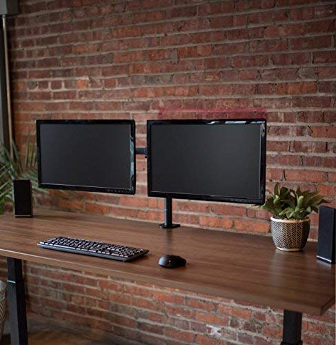 VIVO Dual LCD LED Monitor Desk Mount Stand with C-clamp and Bolt-through Grommet Options | Heavy Duty Fully Adjustable Arms hold Two (2) Screens up to 27'' (STAND-V002) by VIVO (Image #3)