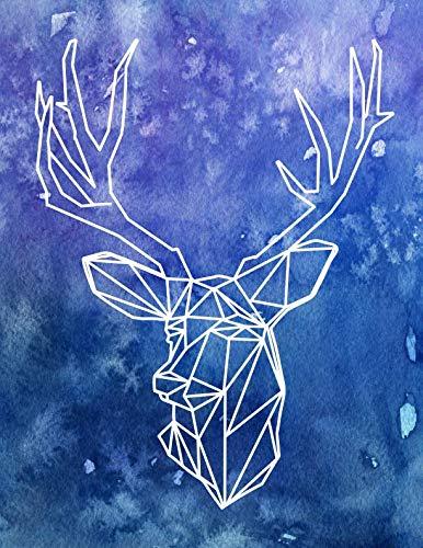 Notebook: Watercolor Geometric Deer Silhouette College Ruled Line Paper 8.5
