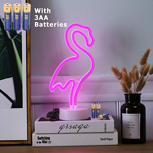 HONGM Flamingo Shape LED Neon Night Light with Base Pink Decorative Light Battery Powered/USB Table Lamp for Kids Room Holiday Party -