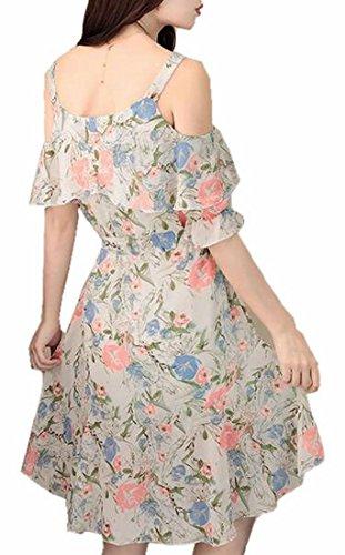 Floral Women's Boho 2 Sleeve Short Jaycargogo Dress Ruffle Cold Chiffon Shoulder SXRgw