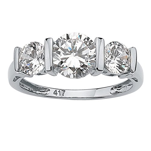 Solid 10K White Gold Round Cubic Zirconia Bar-Set 3-Stone Wedding Anniversary Ring Size 7 by Palm Beach Jewelry