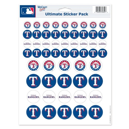 MLB Texas Rangers Vinyl Sticker Sheet, 8.5