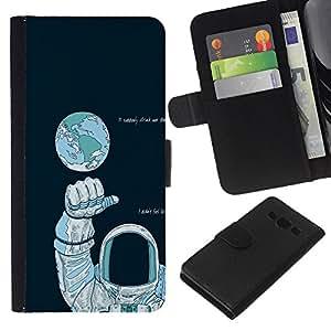 KLONGSHOP // Tirón de la caja Cartera de cuero con ranuras para tarjetas - Astronauta Espacio - Samsung Galaxy A3 //