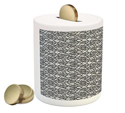 Cheap  Floral Coin Box Bank by Ambesonne, Monochrome Composition of Water Lilies Asian..