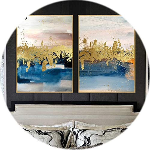 Gold Foil Texture - crack of dawn Modern Retro Abstract Gold Foil White Blue Texture Canvas Painting Posters Print Art Pictures for Living Room Unframed,15x20cm No Frame,Two Pictures