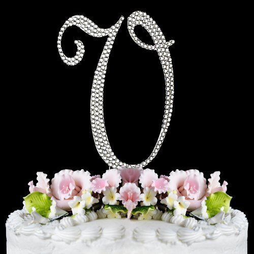 Completely Covered Swarovski Crystal Silver Wedding Cake Toppers ~ LARGE Monogram Letter V by RaeBella Weddings & Events New York