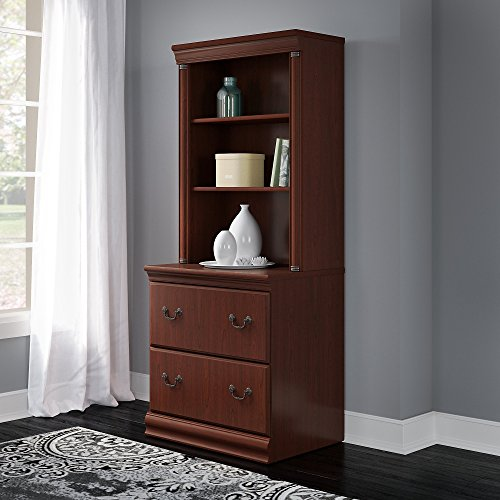 Bush Furniture Birmingham Lateral File Cabinet with Hutch in Harvest Cherry