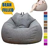 CATSAYS Bean Bag Chair Plush Ultra Soft Bean Bag Chairs for Kids, Teens, Adults - Memory Foam with Soft Micro Fiber (M, Dark Grey)