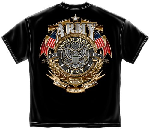 (US Army Gold Shied T-Shirt - Military Badge of Honor Tee - United States Army)