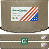 HIGHEST QUALITY REUSABLE (50 PACK) (5 Gallon Tan) Classic Grassroots Fabric Pots100% Made in USA – NOT CHEAP FOREIGN Grow Bags professional grade TAN planters are better for your plants Review