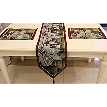 Table Runner And Placemats, Letool Cotton Soft Tapestry Table Runner Cloth  And Placemats, Grape