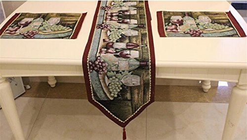 Grape Tapestry (Table Runner and Placemats, Letool Cotton Soft Tapestry Table Runner cloth and Placemats, Grape Wine Pattern (1 table runner + 4 placemats))